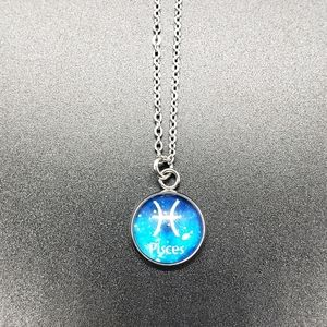Pisces Zodiac Astrology Circle Necklace